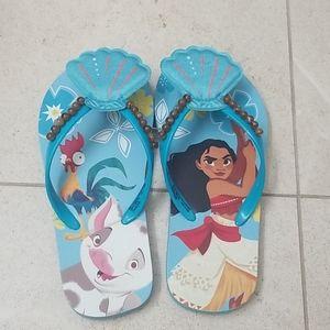 Disney Girls Moana Flip Flops Toddler Size 11-12